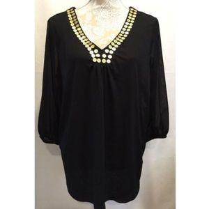 Sag Harbor Woman Tunic Black Top Blouse Size 1X
